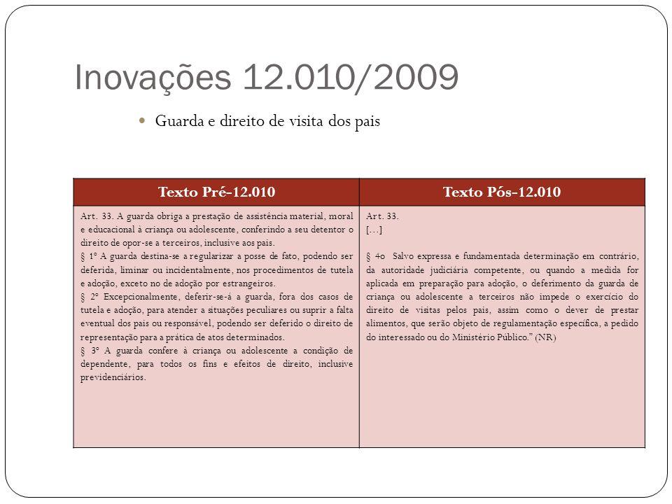 Inovações 12.010/2009 Guarda e direito de visita dos pais