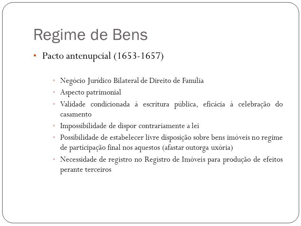 Regime de Bens Pacto antenupcial (1653-1657)