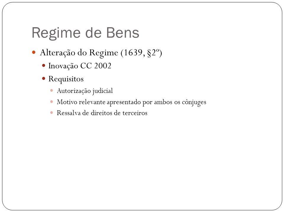 Regime de Bens Alteração do Regime (1639, §2º) Inovação CC 2002