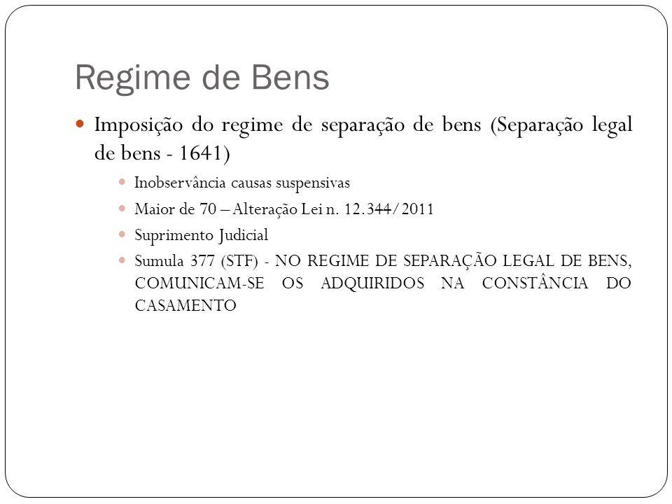 Regime de Bens Imposição do regime de separação de bens (Separação legal de bens - 1641) Inobservância causas suspensivas.