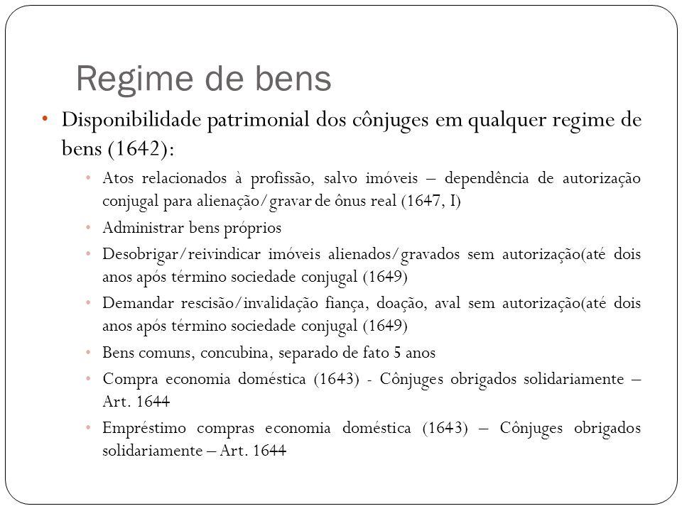 Regime de bens Disponibilidade patrimonial dos cônjuges em qualquer regime de bens (1642):