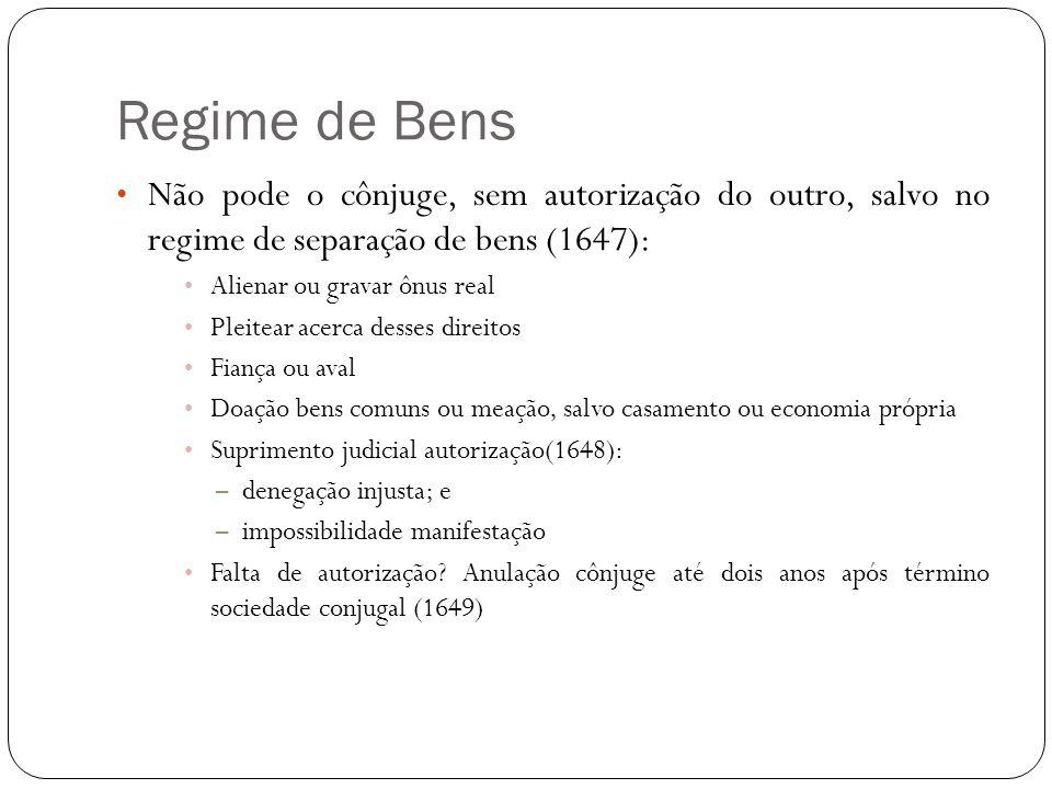 Regime de Bens Não pode o cônjuge, sem autorização do outro, salvo no regime de separação de bens (1647):
