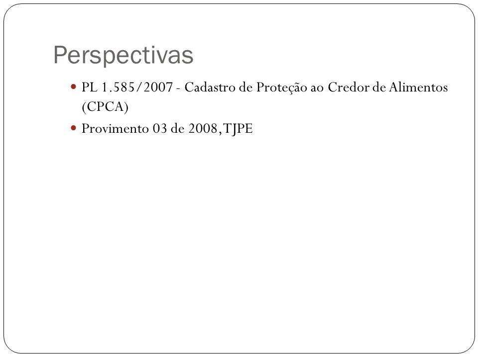 Perspectivas PL 1.585/2007 - Cadastro de Proteção ao Credor de Alimentos (CPCA) Provimento 03 de 2008, TJPE.
