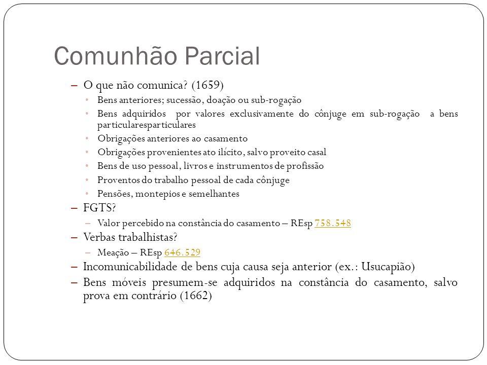 Comunhão Parcial O que não comunica (1659) FGTS Verbas trabalhistas