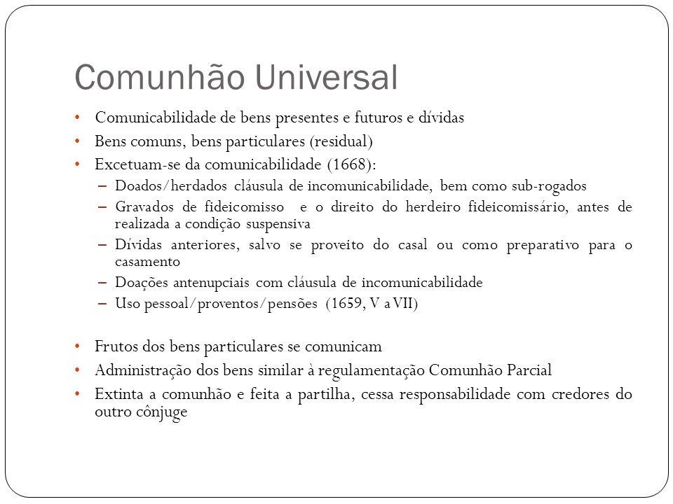 Comunhão Universal Comunicabilidade de bens presentes e futuros e dívidas. Bens comuns, bens particulares (residual)