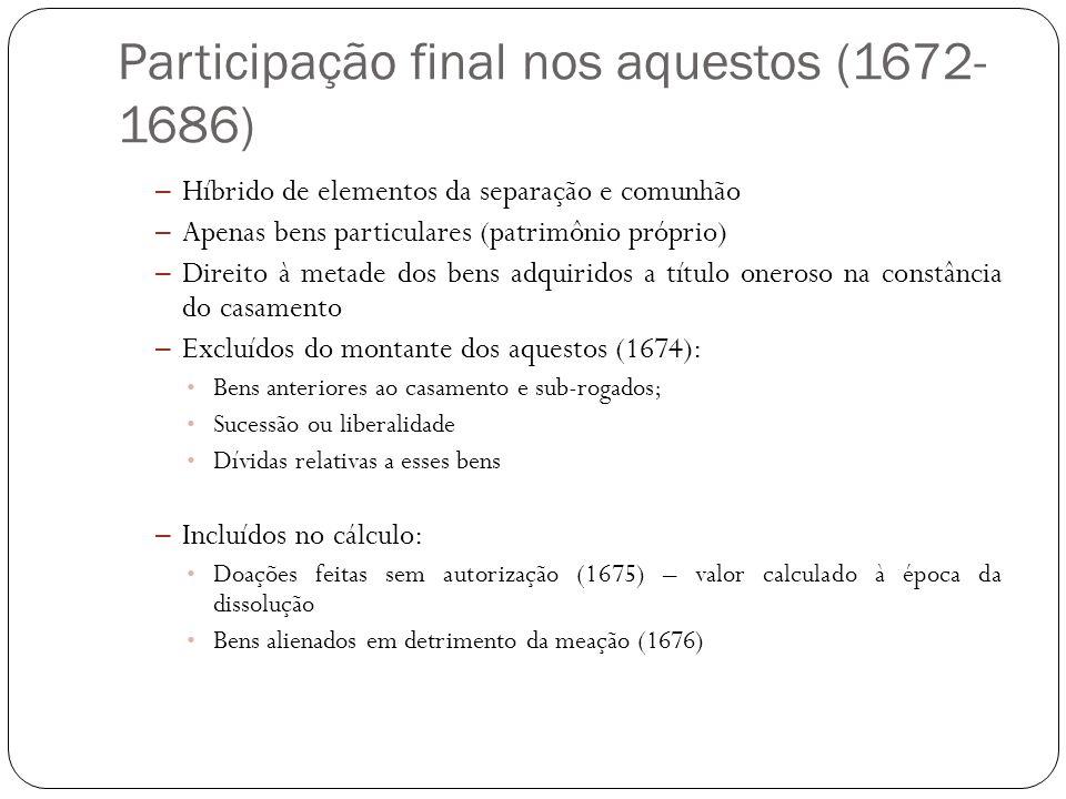 Participação final nos aquestos (1672-1686)