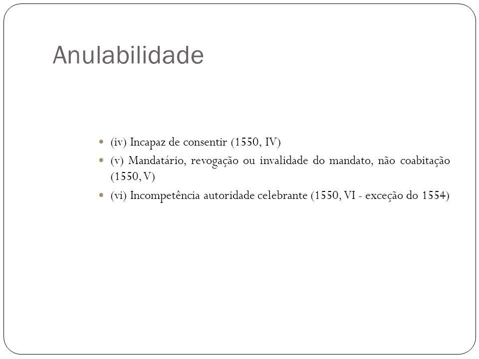 Anulabilidade (iv) Incapaz de consentir (1550, IV)