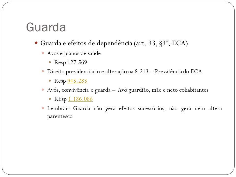 Guarda Guarda e efeitos de dependência (art. 33, §3º, ECA)