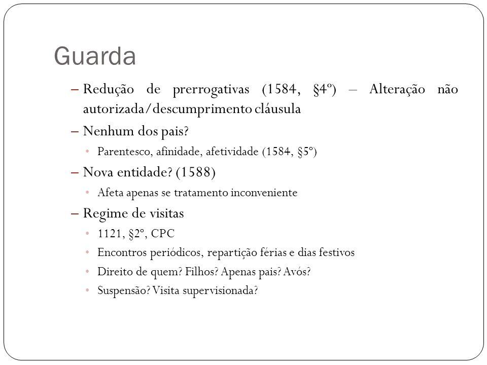Guarda Redução de prerrogativas (1584, §4º) – Alteração não autorizada/descumprimento cláusula. Nenhum dos pais