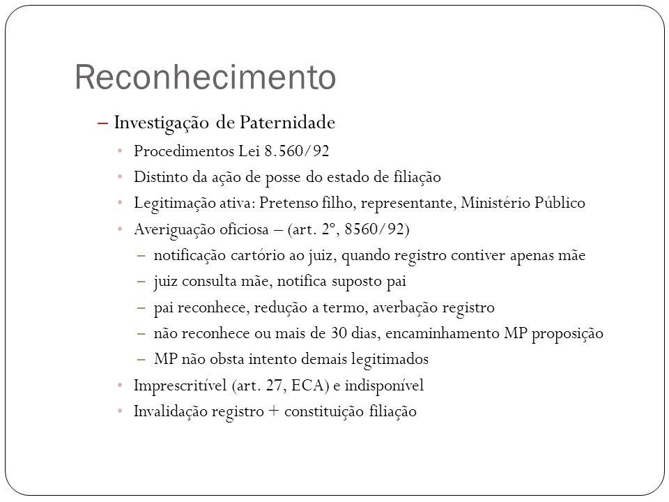 Reconhecimento Investigação de Paternidade Procedimentos Lei 8.560/92