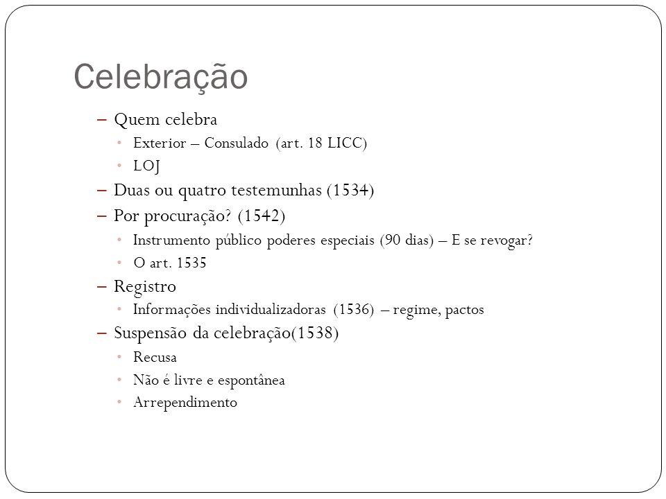 Celebração Quem celebra Duas ou quatro testemunhas (1534)