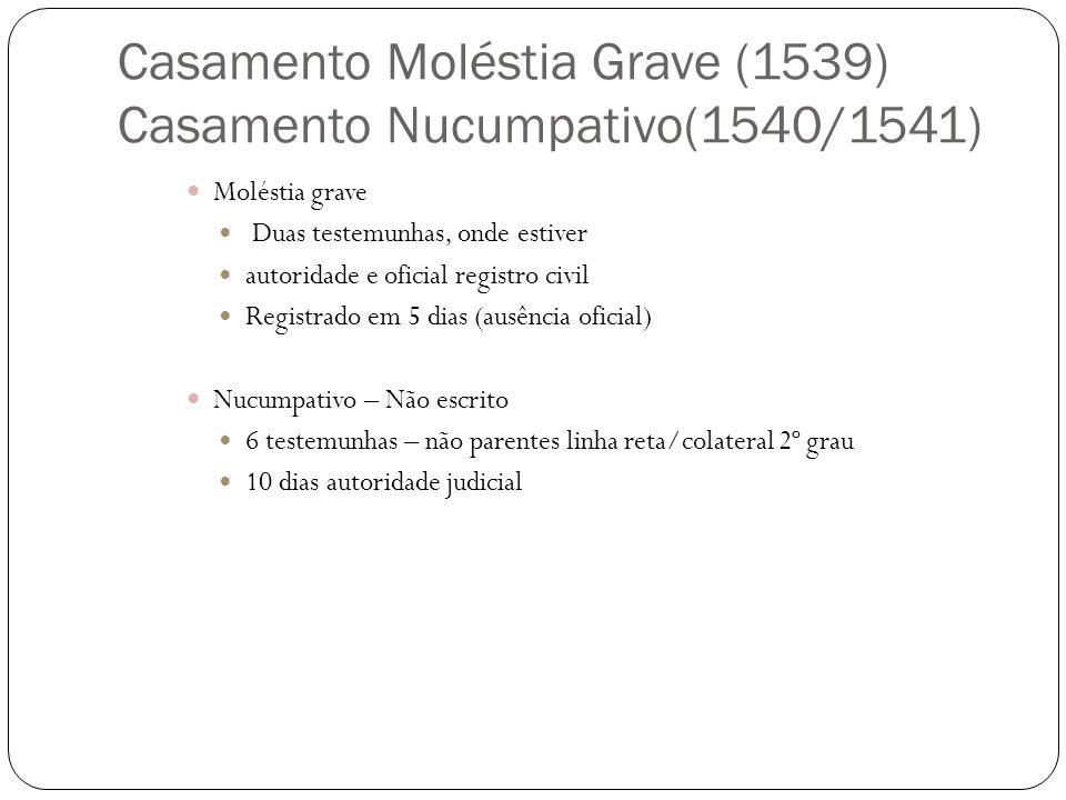 Casamento Moléstia Grave (1539) Casamento Nucumpativo(1540/1541)