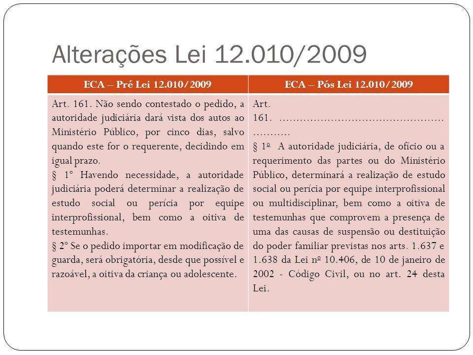 Alterações Lei 12.010/2009 ECA – Pré Lei 12.010/2009