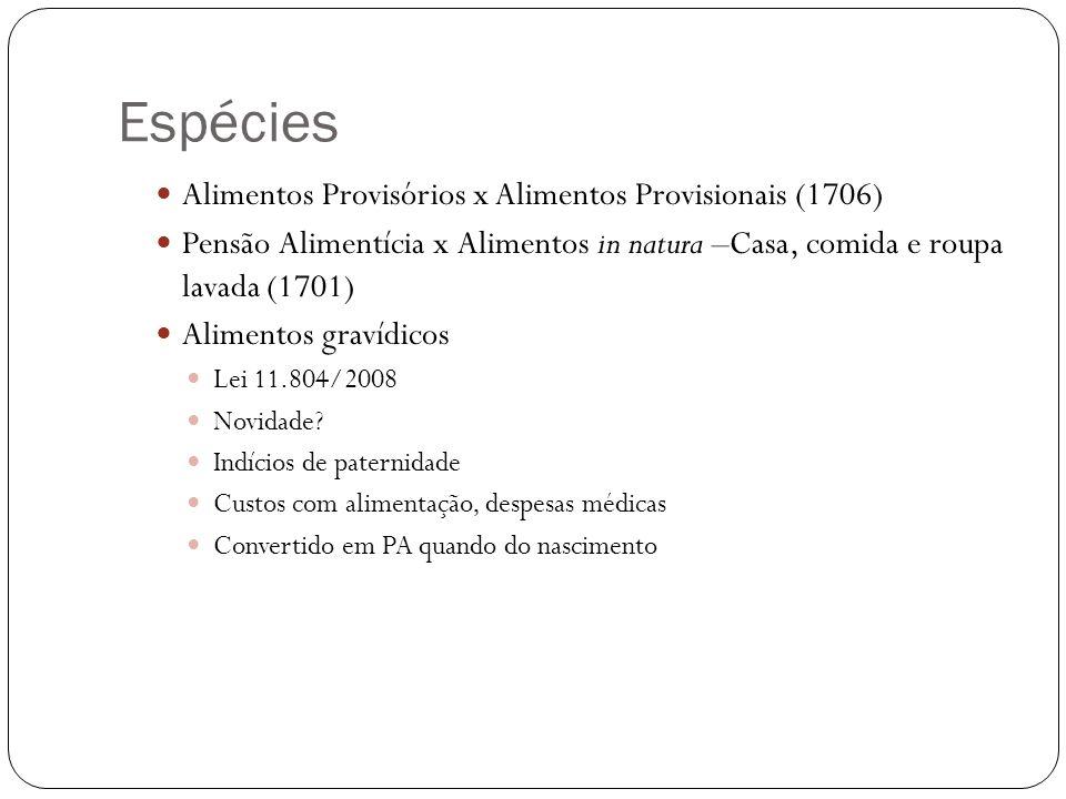 Espécies Alimentos Provisórios x Alimentos Provisionais (1706)