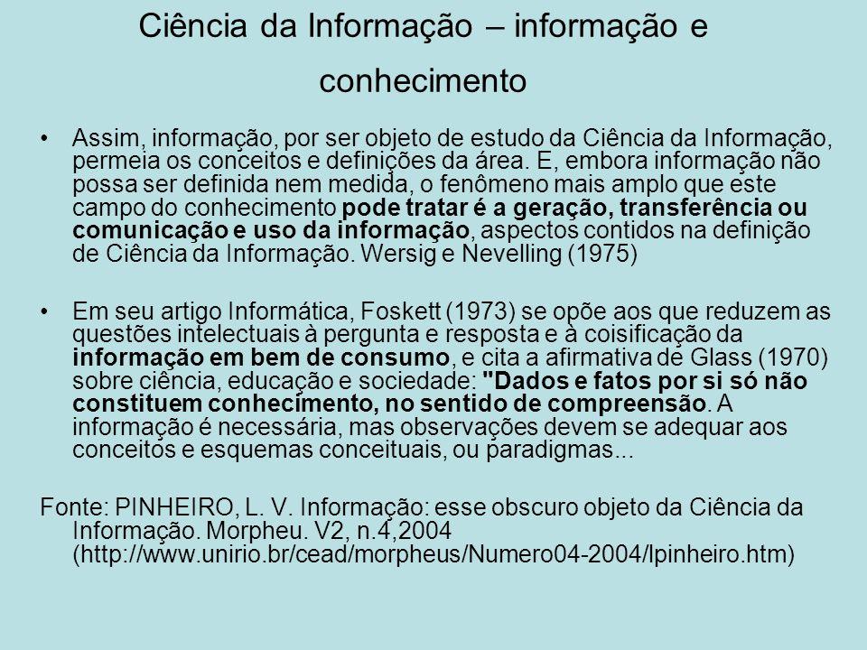 Ciência da Informação – informação e conhecimento