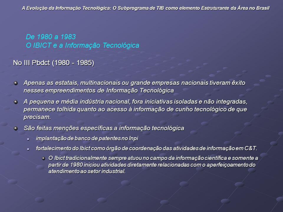 O IBICT e a Informação Tecnológica