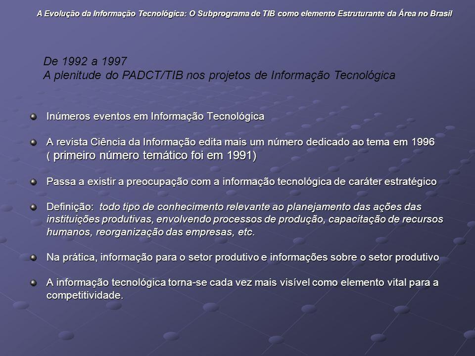 A plenitude do PADCT/TIB nos projetos de Informação Tecnológica