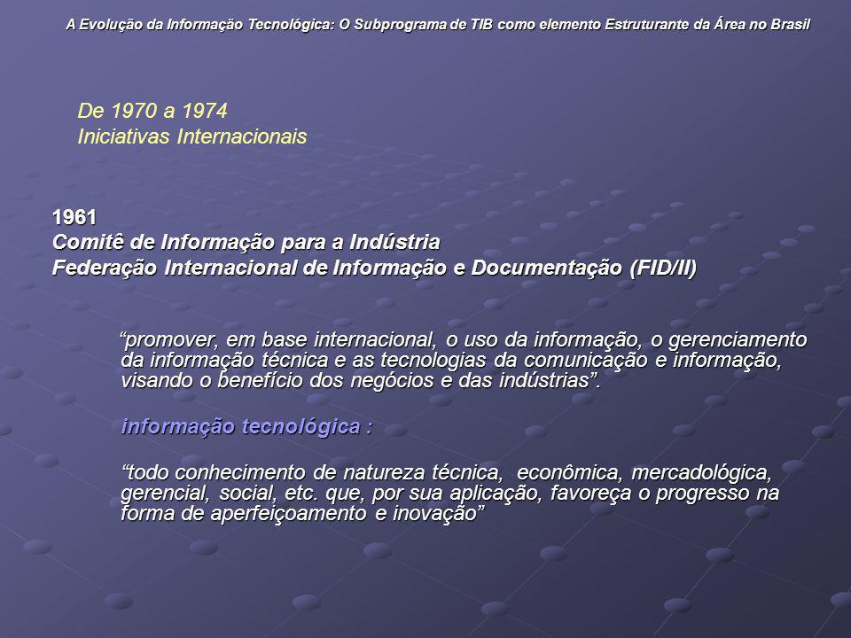 De 1970 a 1974 Iniciativas Internacionais