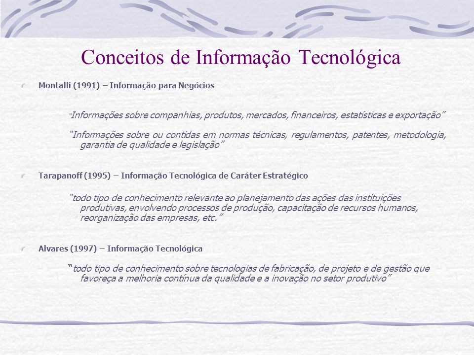 Conceitos de Informação Tecnológica