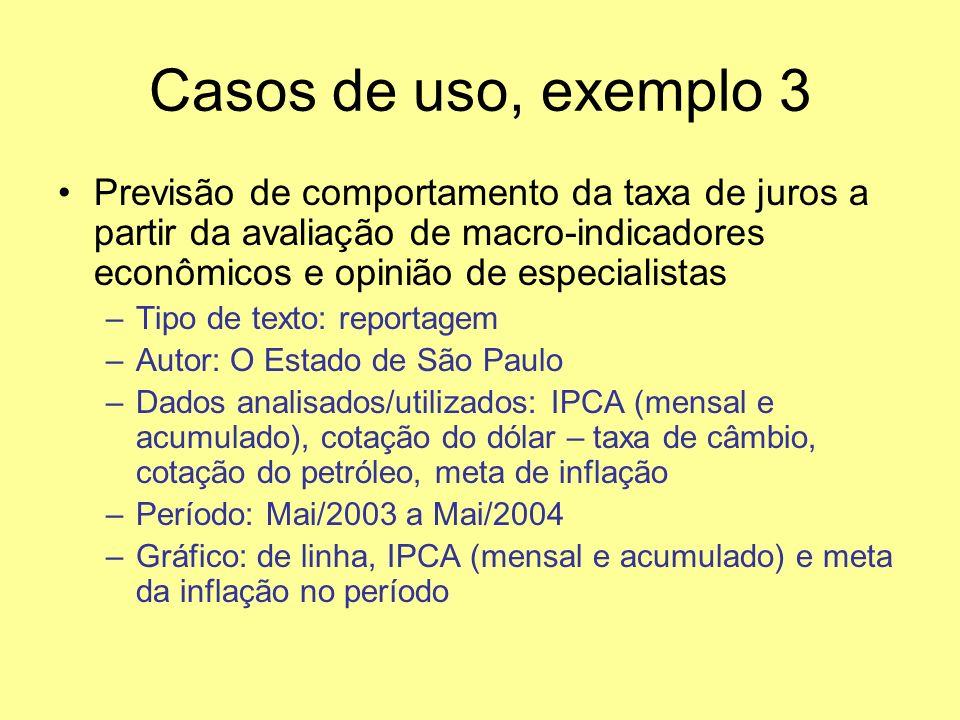 Casos de uso, exemplo 3 Previsão de comportamento da taxa de juros a partir da avaliação de macro-indicadores econômicos e opinião de especialistas.