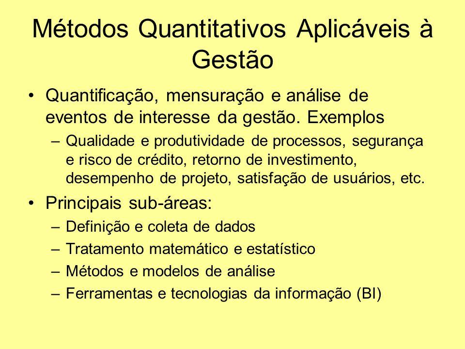 Métodos Quantitativos Aplicáveis à Gestão