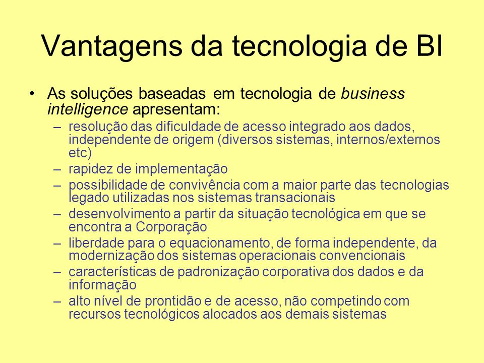 Vantagens da tecnologia de BI