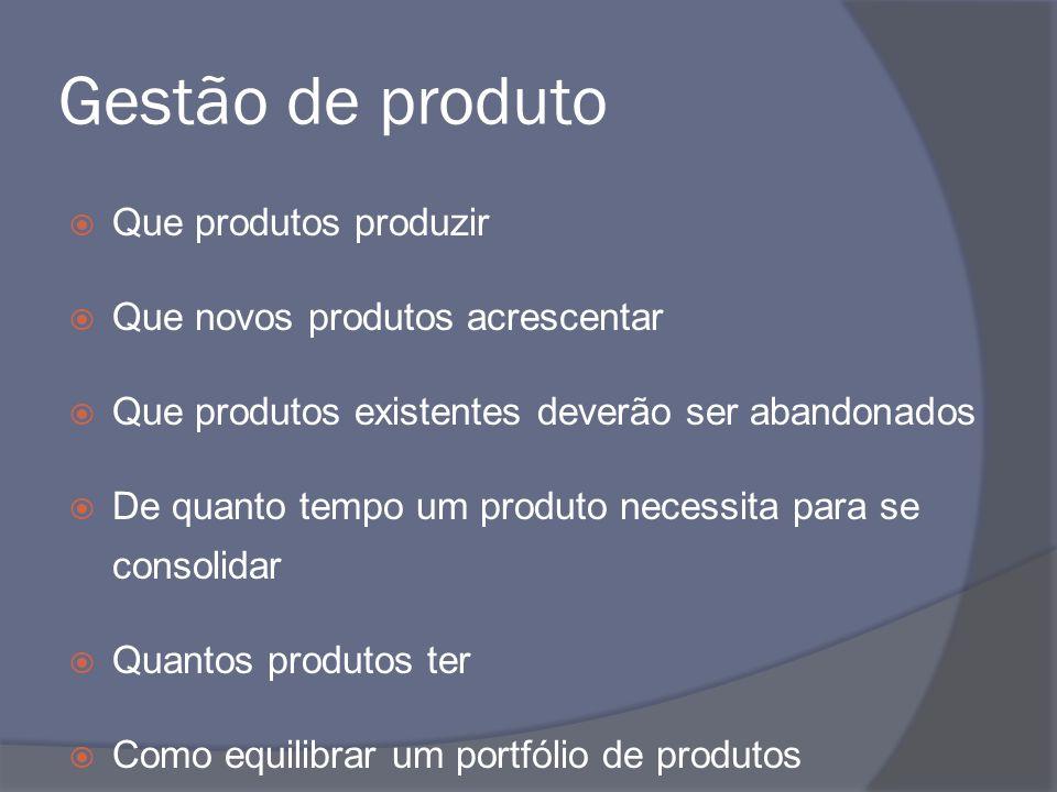 Gestão de produto Que produtos produzir Que novos produtos acrescentar
