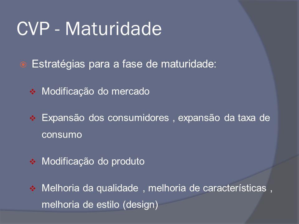 CVP - Maturidade Estratégias para a fase de maturidade: