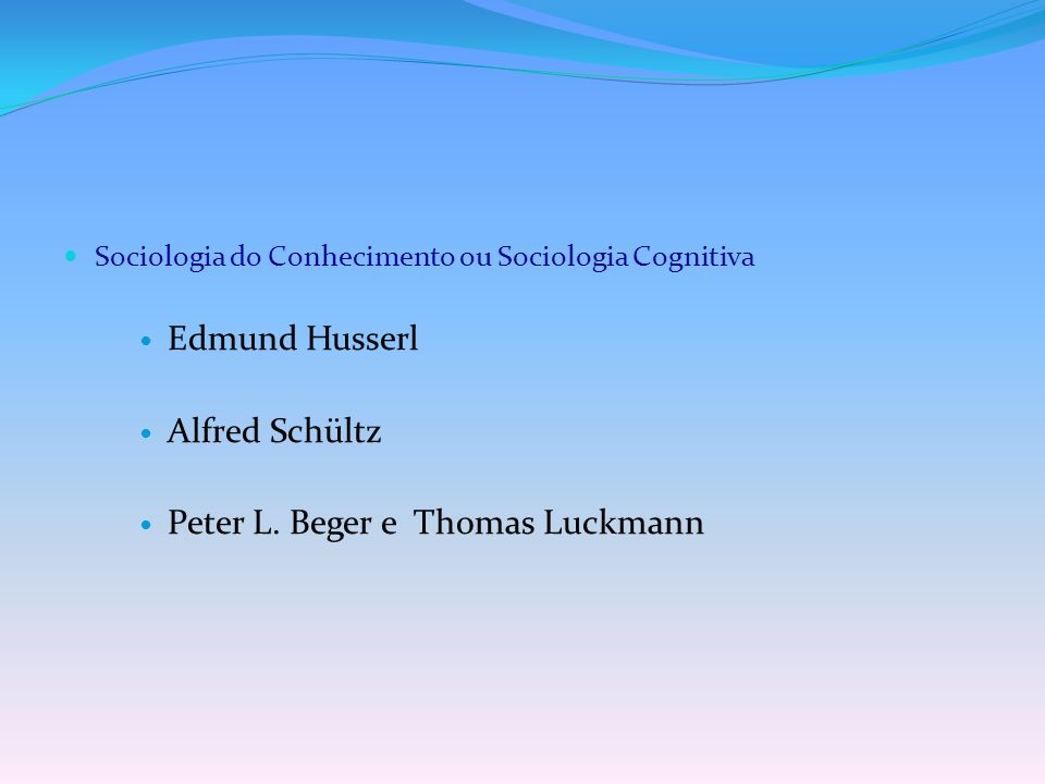Peter L. Beger e Thomas Luckmann