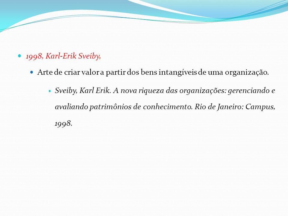 1998, Karl-Erik Sveiby, Arte de criar valor a partir dos bens intangíveis de uma organização.