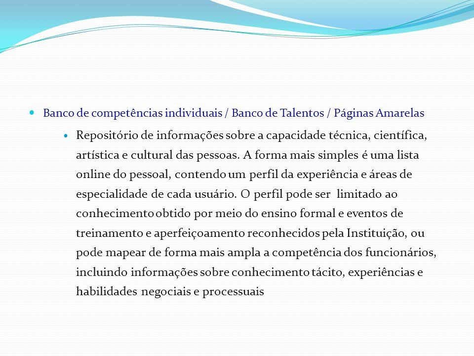 Banco de competências individuais / Banco de Talentos / Páginas Amarelas