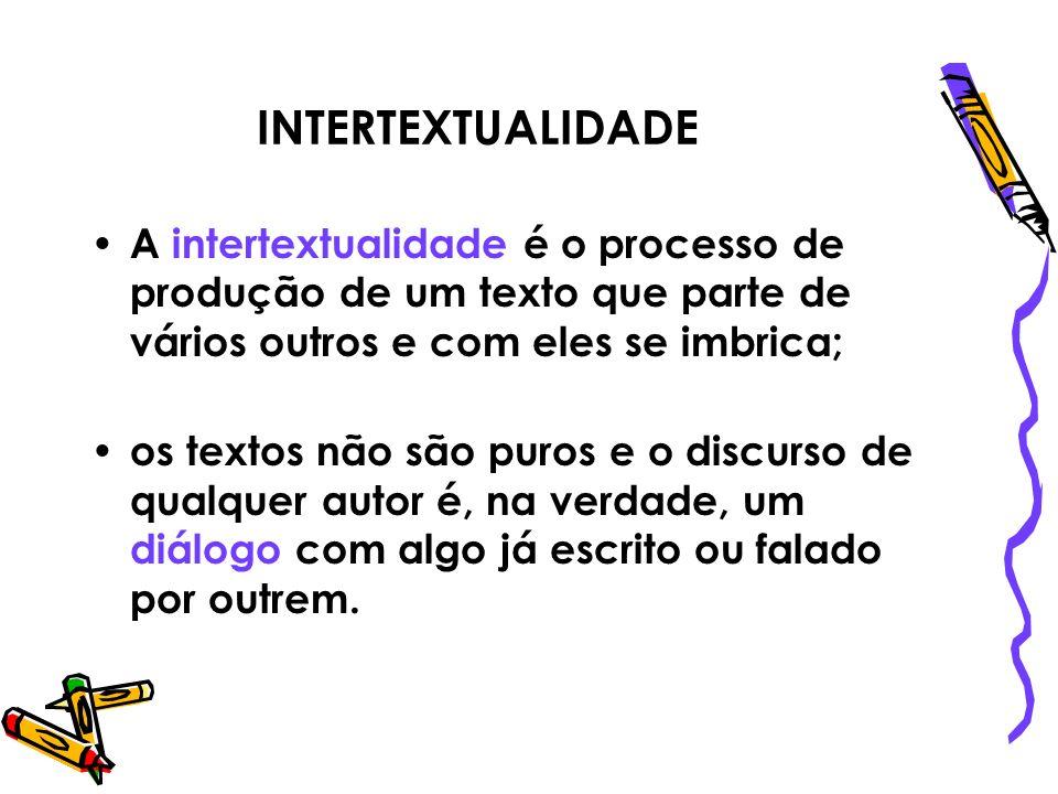 INTERTEXTUALIDADE A intertextualidade é o processo de produção de um texto que parte de vários outros e com eles se imbrica;