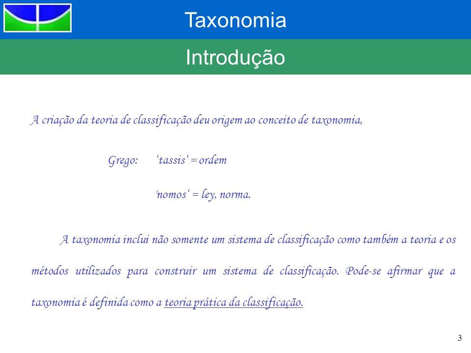 Introdução A criação da teoria de classificação deu origem ao conceito de taxonomia, Grego: 'tassis' = ordem.
