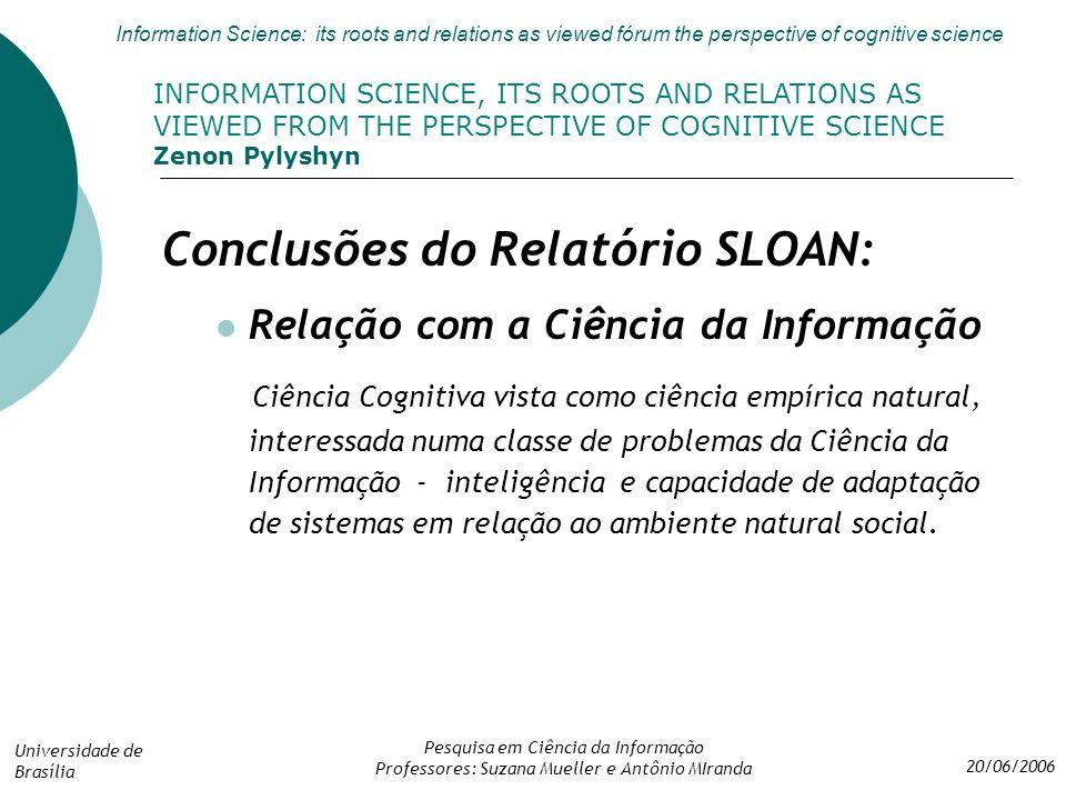 Conclusões do Relatório SLOAN: