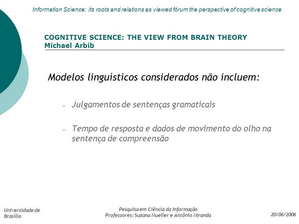 Modelos linguísticos considerados não incluem:
