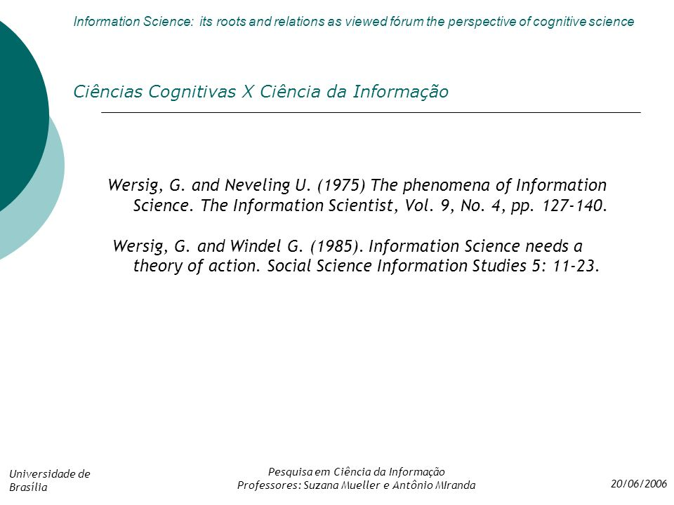 Ciências Cognitivas X Ciência da Informação