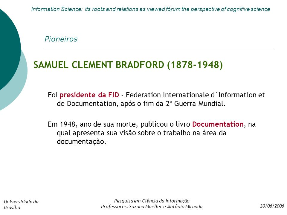 SAMUEL CLEMENT BRADFORD (1878-1948)