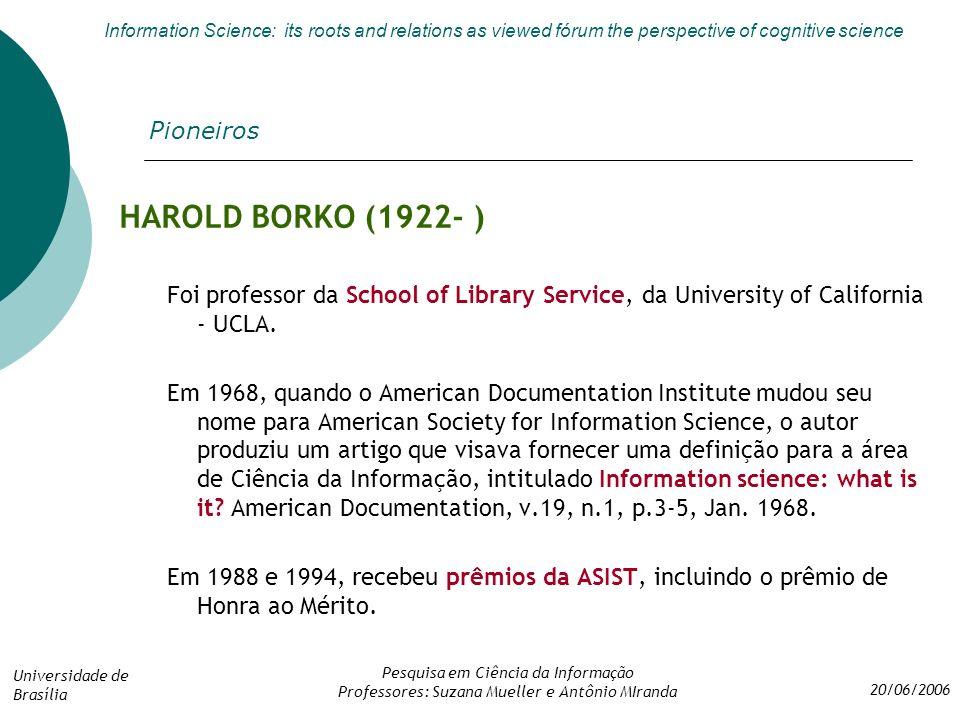 HAROLD BORKO (1922- ) Pioneiros