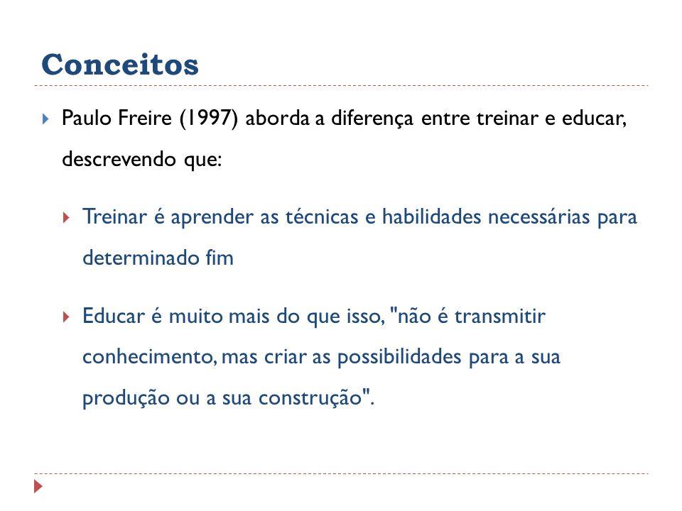Conceitos Paulo Freire (1997) aborda a diferença entre treinar e educar, descrevendo que: