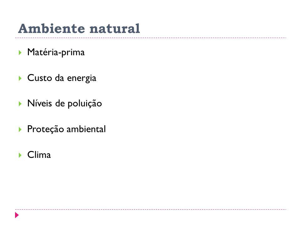 Ambiente natural Matéria-prima Custo da energia Níveis de poluição