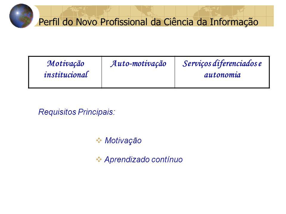 Motivação institucional Serviços diferenciados e autonomia