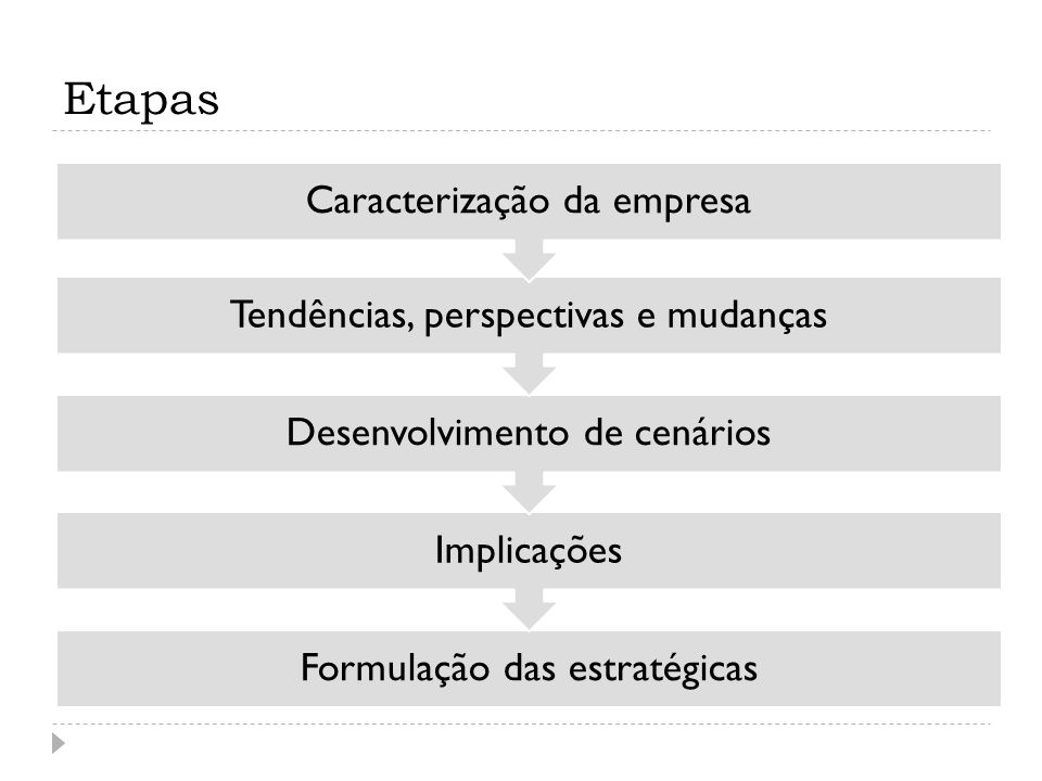 Etapas Caracterização da empresa Tendências, perspectivas e mudanças