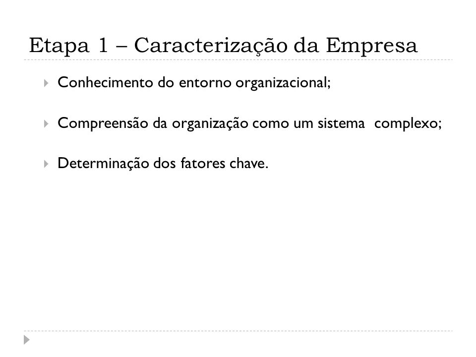 Etapa 1 – Caracterização da Empresa