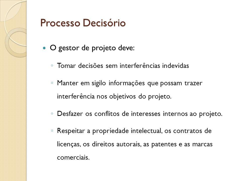 Processo Decisório O gestor de projeto deve: