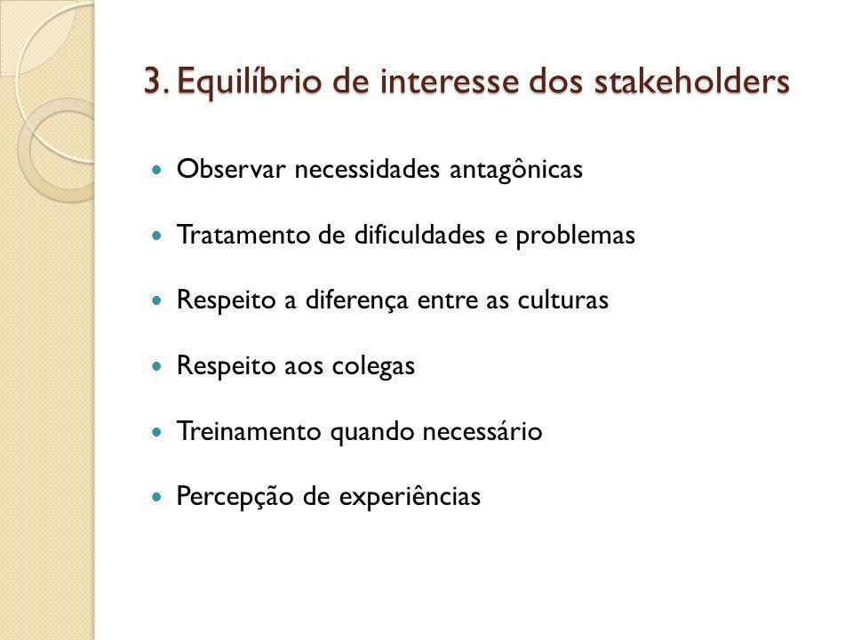 3. Equilíbrio de interesse dos stakeholders