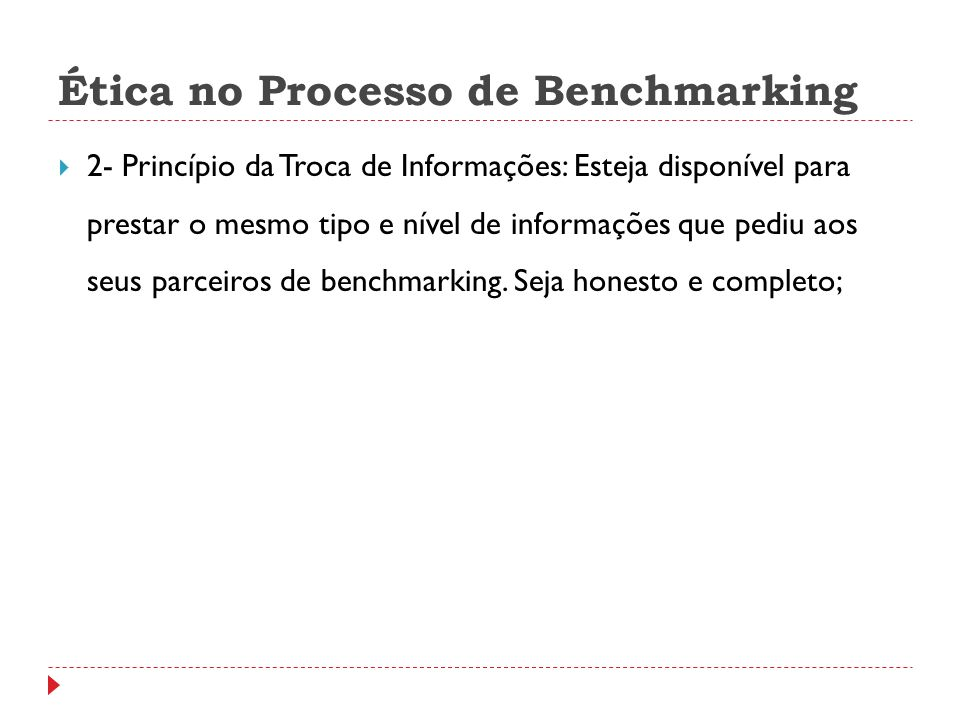 Ética no Processo de Benchmarking