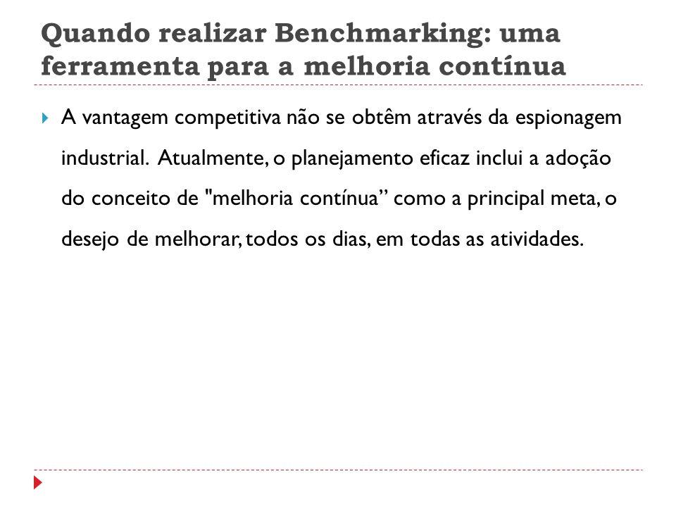Quando realizar Benchmarking: uma ferramenta para a melhoria contínua