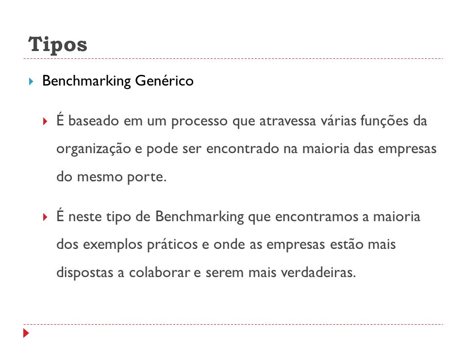 Tipos Benchmarking Genérico