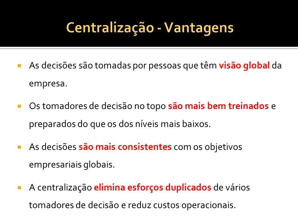 Centralização - Vantagens