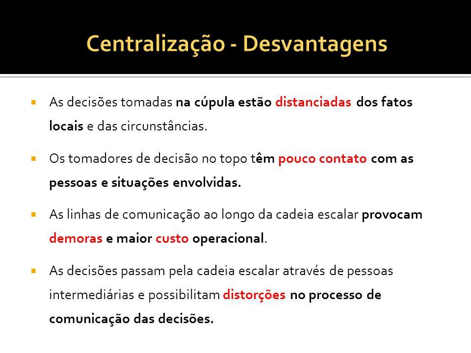 Centralização - Desvantagens